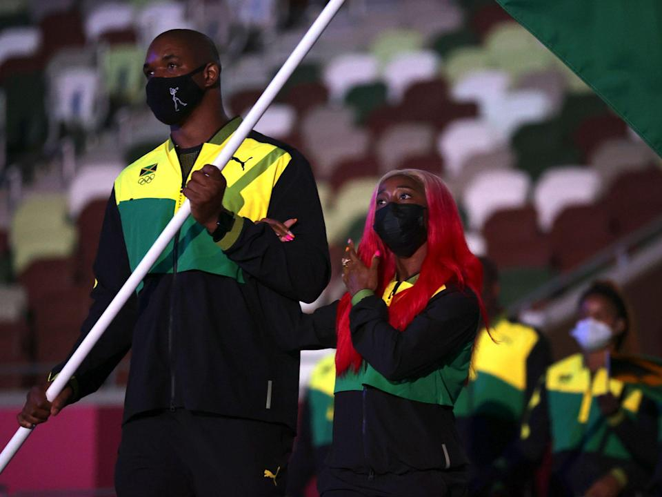 Athletes from Jamaica make their entrance at the Summer Olympics.