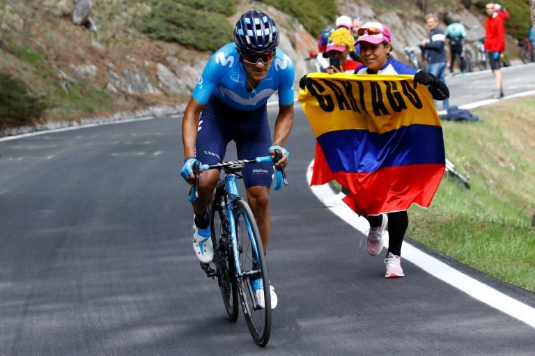 Team Movistar rider Richard Carapaz took the pink jersey with a solo win at the Giro on Saturday