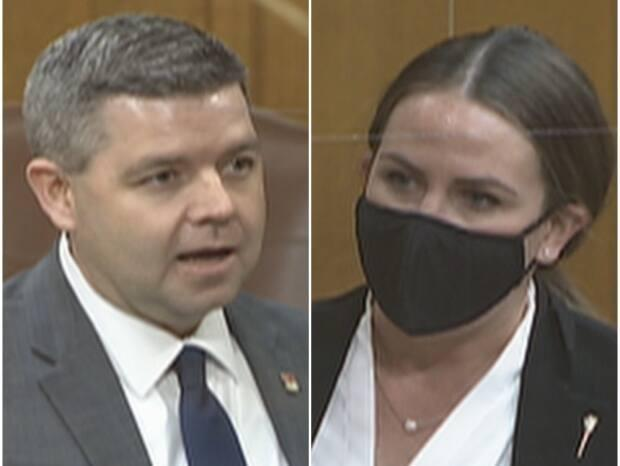 Minister Jeremy Harrison (left) and opposition MLA Aleana Young have been debating jobs and the provincial economy for the first two weeks of the sitting.