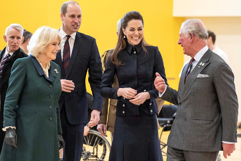 Britain's Prince William, Duke of Cambridge (3L) and his wife Britain's Catherine, Duchess of Cambridge (2R) talk with his father Britain's Prince Charles, Prince of Wales (R) and his wife Britain's Camilla, Duchess of Cornwall (2L) during their visit to the Defence Medical Rehabilitation Centre (DMRC) in Loughborough, central England on February 11, 2020. - The DMRC currently provides services to a small group of veterans in the form of the Complex Prosthetic Assessment Clinic (CPAC), which is a joint MOD and NHS England commissioned outpatient clinic. (Photo by Richard Pohle / POOL / AFP) (Photo by RICHARD POHLE/POOL/AFP via Getty Images)