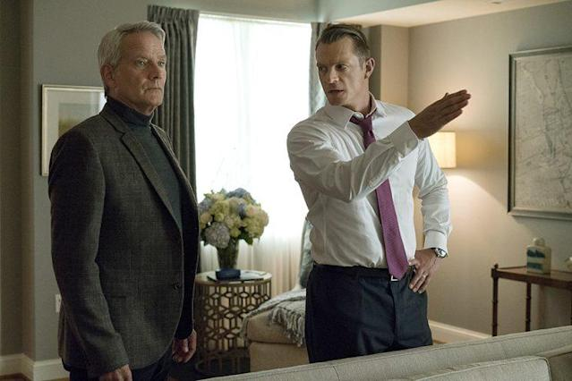 Campbell Scott as Mark Usher and Joel Kinnaman as Will Conway in Netflix's <em>House of Cards</em>. (Photo: David Giesbrecht)