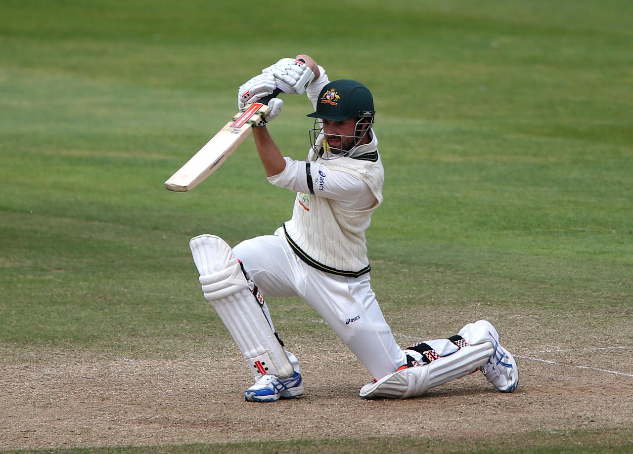 Australia batsman Ed Cowan during his innings of 46 during the International Tour match at the County Ground, Taunton.