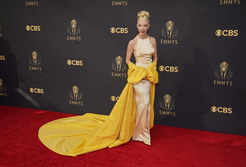 Anya Taylor-Joy arrives at the 73rd Primetime Emmy Awards on Sunday, Sept. 19, 2021, at L.A. Live in Los Angeles. (AP Photo/Chris Pizzello)