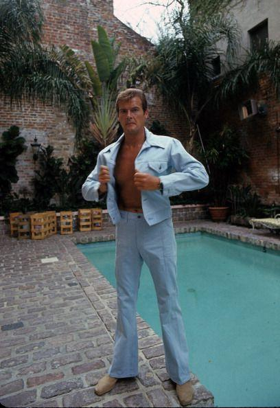 <p>Roger Moore poses on location for 'Live And Let Die', 1973.</p>