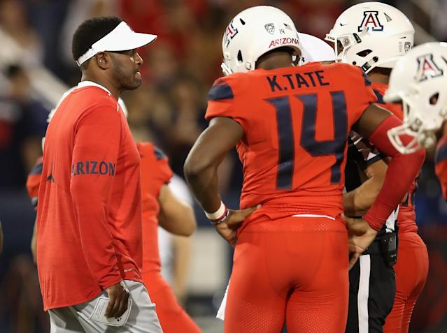 Kevin Sumlin and Khalil Tate are now 0-2 together. (Getty)