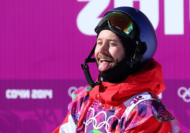 SOCHI, RUSSIA - FEBRUARY 08: Billy Morgan of Great Britain reacts after his second run during the Snowboard Men's Slopestyle Final during day 1 of the Sochi 2014 Winter Olympics at Rosa Khutor Extreme Park on February 8, 2014 in Sochi, Russia. (Photo by Julian Finney/Getty Images)