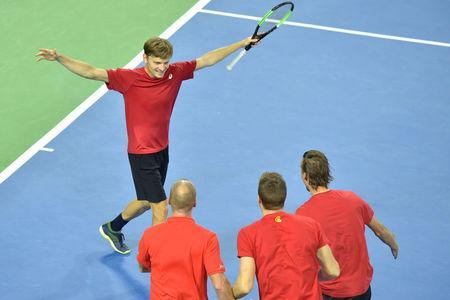 Belgium Tennis - Belgium v Italy - Davis Cup Quarterfinals World Group - Spiroudome, Charleroi, Belgium - 9/4/17. Belgium's David Goffin reacts after winning his singles match against Italy's Paolo Lorenzi. REUTERS/Eric Vidal