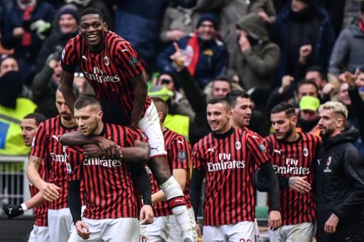 Ante Rebic (Front L) scored his first league goals for AC Milan with a brace against Udinese