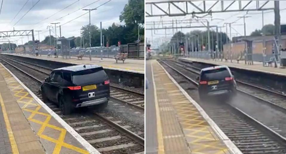 The car sped along the tracks.