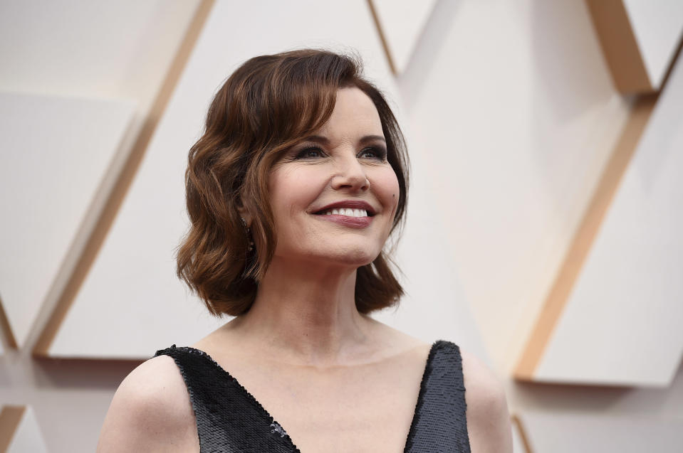 Geena Davis arrives at the Oscars on Sunday, Feb. 9, 2020, at the Dolby Theatre in Los Angeles. (Photo by Jordan Strauss/Invision/AP)