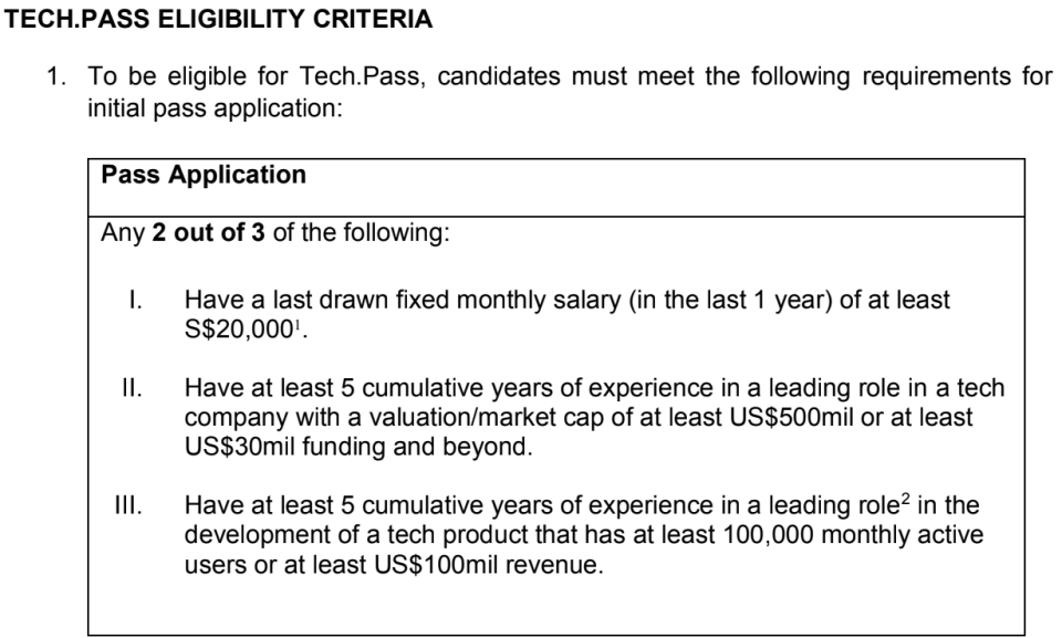 Tech.Pass eligibility criteria. (TABLE: Economic Development Board)