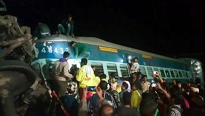 The accident at Kuneru, in southern India's Andhra Pradesh state, is only the latest in a series of incidents on one of the wrold's largest railway networks (AFP Photo/)