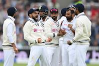 <p>LONDON, ENGLAND - AUGUST 16: Virat Kohli of India and his team mates celebrate the wicket of Dominic Sibley of England during the Second LV= Insurance Test Match: Day Five between England and India at Lord's Cricket Ground on August 16, 2021 in London, England. (Photo by Mike Hewitt/Getty Images)</p>