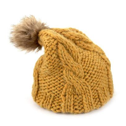 Mustard yellow bobble hat with faux fur pom pom 2c5475d0665