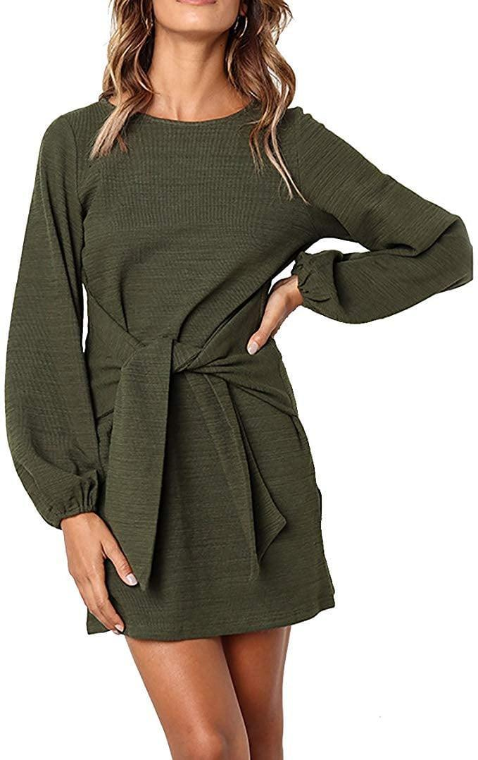 <p>This <span>Prettygarden Belted Dress With Pockets</span> ($31, originally $35) is an Amazon bestseller because of how cute it looks on! We love the green hue and the tie waist.</p>