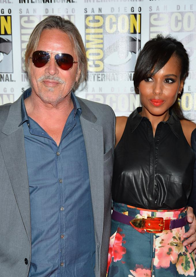 "SAN DIEGO, CA - JULY 14:  Actors Don Johnson and Kerry Washington attend ""DJango Unchained"" Press Line during Comic-Con International 2012 at Hilton San Diego Bayfront Hotel on July 14, 2012 in San Diego, California.  (Photo by Frazer Harrison/Getty Images)"