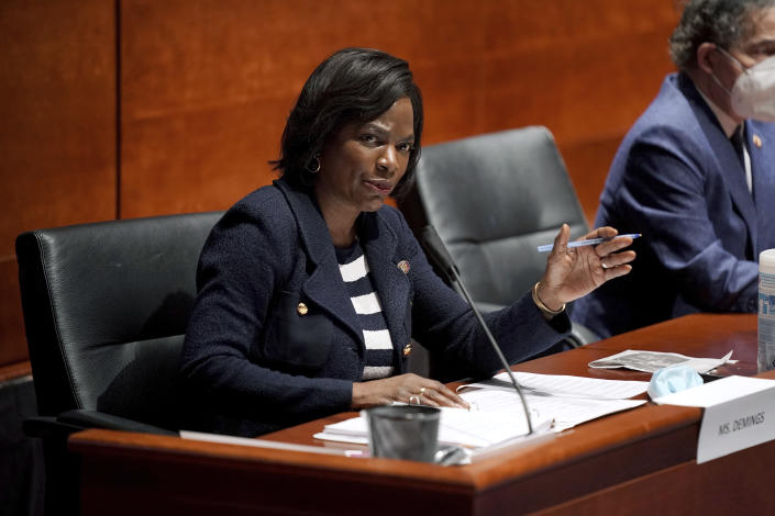 FILE - In this June 10, 2020, file photo Rep. Val Demings, D-Fla., asks questions during a House Judiciary Committee hearing on proposed changes to police practices and accountability on Capitol Hill in Washington. Demings is running for Republican Sen. Marco Rubio's Florida seat. (Greg Nash/Pool via AP, File)