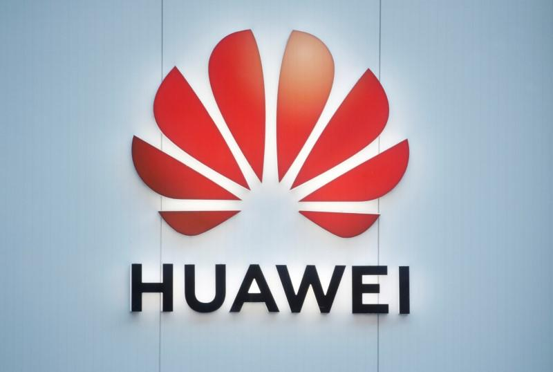 FILE PHOTO: Logo of Huawei is seen in Davos
