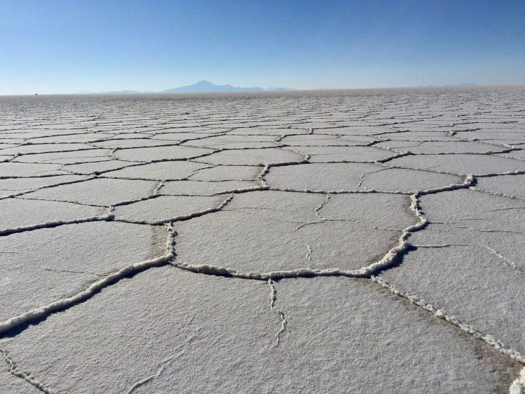 This photo, taken in July 2015, shows the salty surface of the Salar de Uyuni, the world's largest salt flat, which holds Bolivia's vast lithium reserves. (Photo: Caitlin Dickson/Yahoo News)