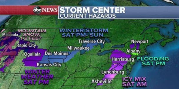 PHOTO: Alerts are in place for two storms moving into the central and eastern U.S. over the holiday weekend. (ABC News)