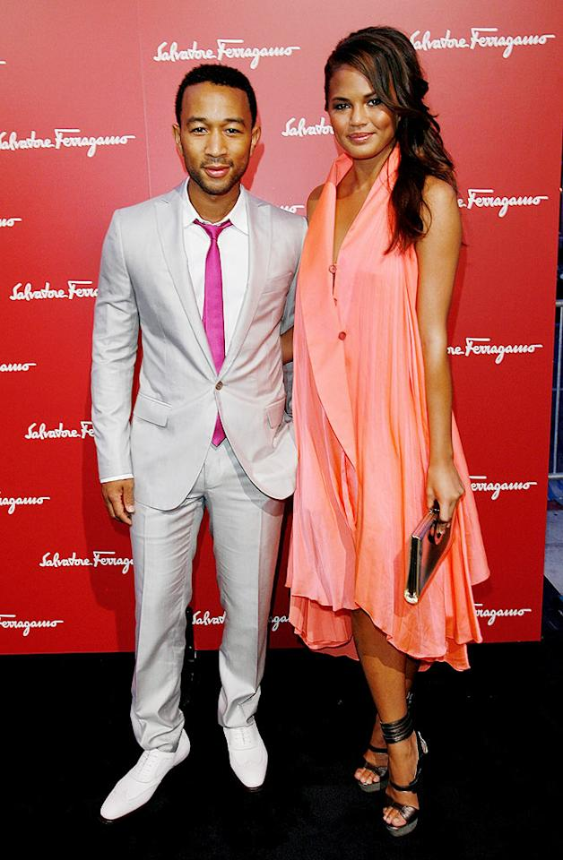 "Grammy winner John Legend and his gal pal, model Christine Teigen, struck poses before entering the star-studded soiree. Donato Sardella/<a href=""http://www.wireimage.com"" target=""new"">WireImage.com</a> - June 2, 2009"