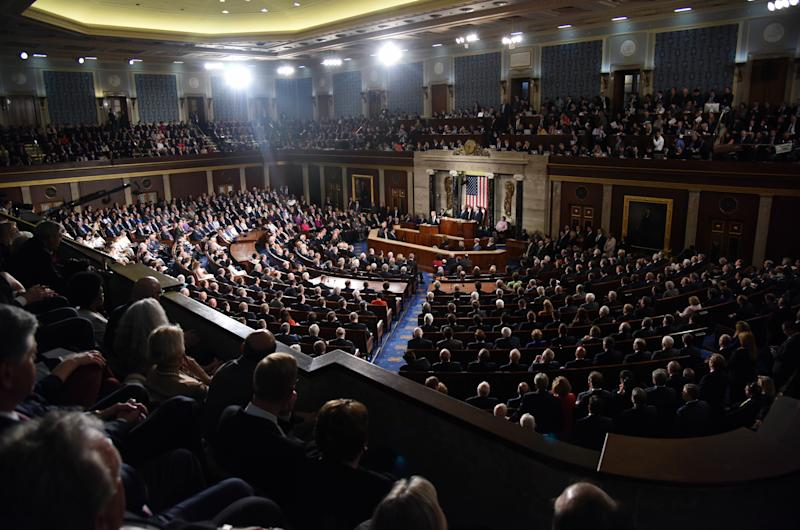 """(170301) -- WASHINGTON D.C., March 1, 2017 (Xinhua) -- U.S. President Donald Trump addresses the joint session of Congress on Capitol Hill in Washington D.C., the United States, Feb. 28, 2017. U.S. President Donald Trump on Tuesday night rolled out his """"America First"""" agenda for his four-year presidency in his first speech at a joint session of Congress since inauguration. (Xinhua/Yin Bogu)(zhf) (Photo by Xinhua/Sipa USA)"""