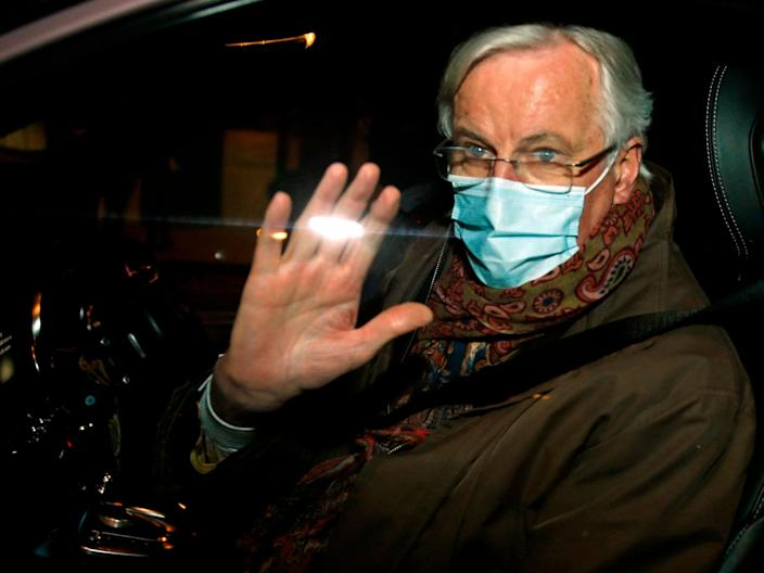 <p>EU chief negotiator Michel Barnier wearing a protective face covering to combat the spread of the coronavirus</p> (Hollie Adams/AFP via Getty Images)