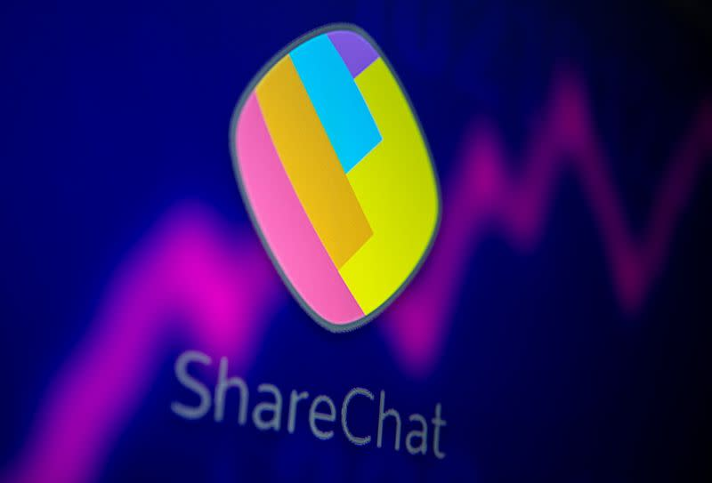 ShareChat and stock graph are displayed in this illustration taken