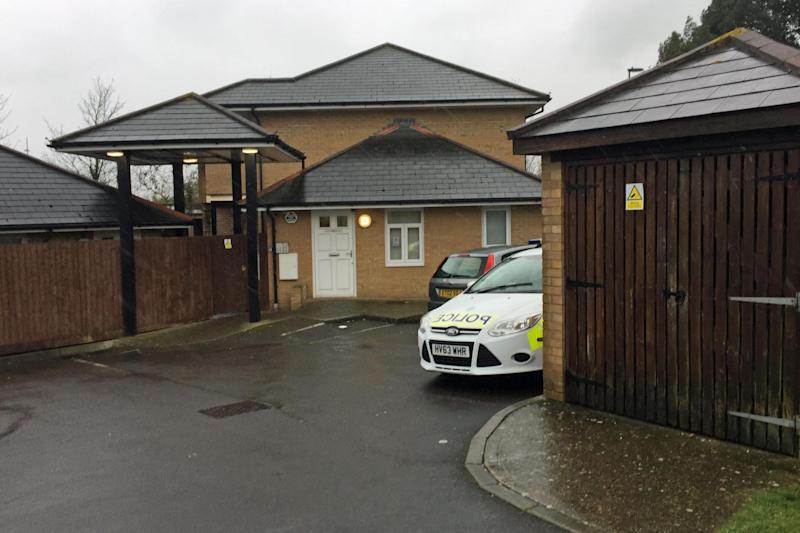 Murder: A police car outside a property in Defender Road where the baby was taken ill: PA