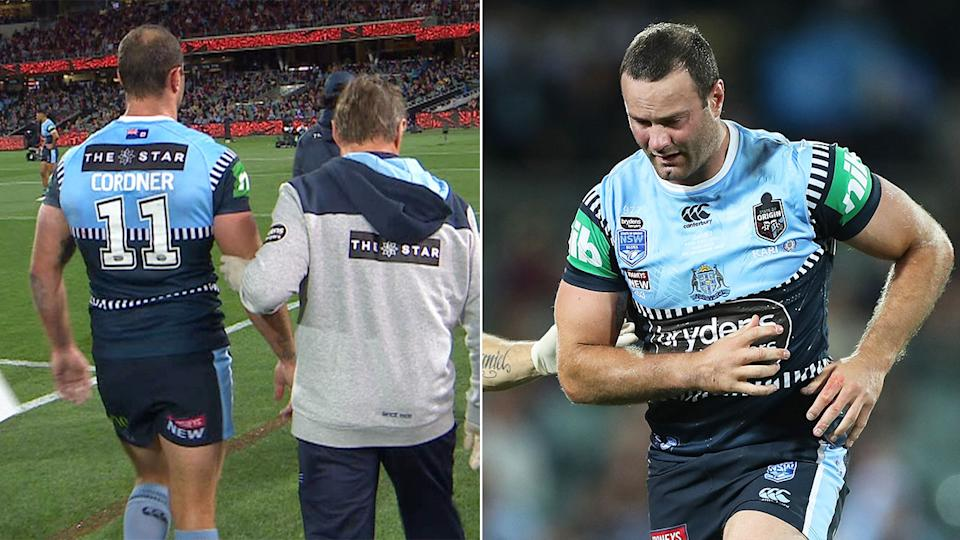 Pictured here, NSW captain Boyd Cordner suffered a worrying first half head knock.