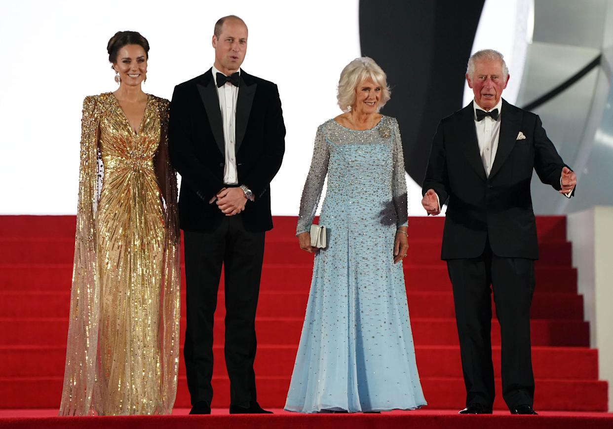 The Duke and Duchess of Cambridge were joined by the Duchess of Cornwall and the Prince of Wales for the World Premiere of No Time To Die. (Getty Images)