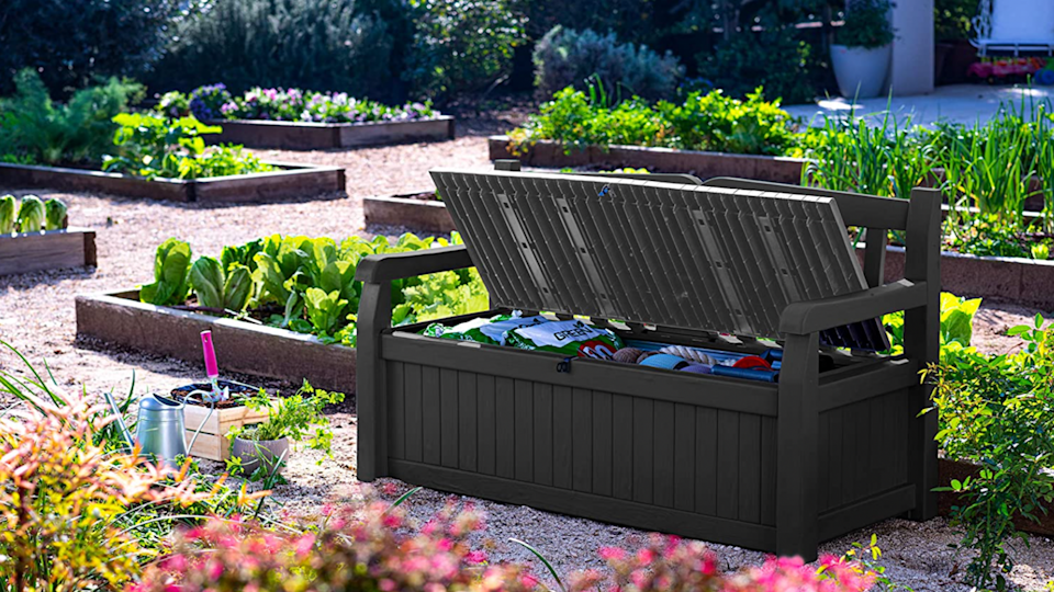 This storage bench from Amazon is in stock now and can arrive at your doorstep in days.
