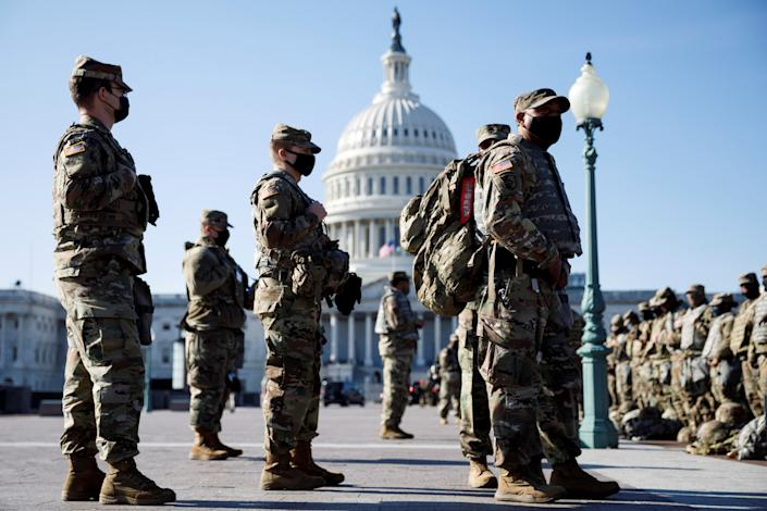 WASHINGTON, D.C., Jan. 15, 2021 -- National Guard soldiers are seen on Capitol Hill in Washington, D.C., the United States, on Jan. 14, 2021. U.S. President Donald Trump on Jan. 11 approved an emergency  declaration for Washington, D.C., effective through Jan. 24, covering the date of President-elect Joe Biden's inauguration on Jan. 20. (Photo by Ting Shen/Xinhua via Getty) (Xinhua/Ting Shen via Getty Images)
