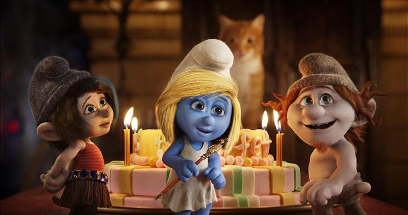 """This publicity image released by Sony Pictures Animation shows from left, Vexy, voiced by Christina Ricci, Smurfette, voiced by Katy Perry and Hackus, voiced by J.B. Smoove, in a scene from the film """"Smurfs 2."""" (AP Photo/Sony Pictures Animation)"""