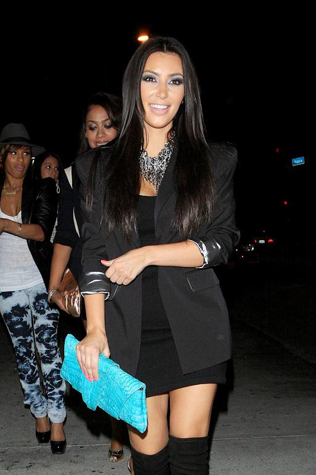 "A newly single Kim Kardashian enjoys an LA night out on the town with friends. Hellmuth Dominguez/<a href=""http://www.pacificcoastnews.com/"" target=""new"">PacificCoastNews.com</a> - August 3, 2009"