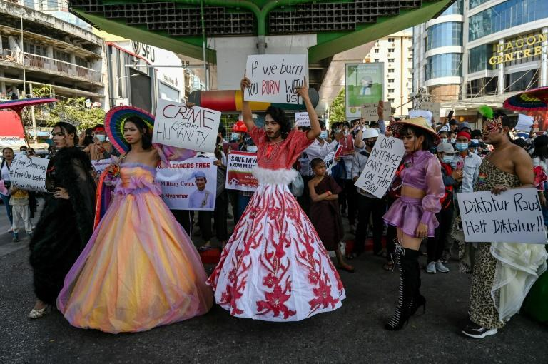 Members of Myanmar's LGBT community take part in a demonstration against the military coup in Yangon