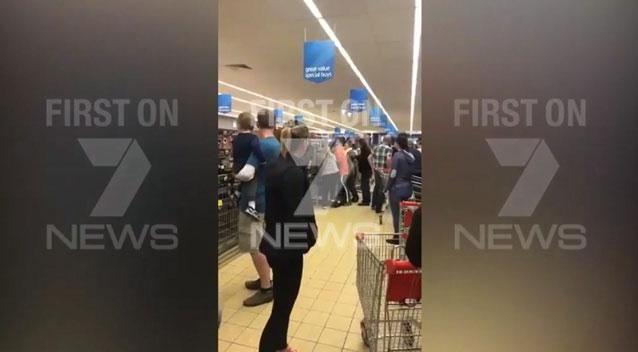 A shopper has captured the shocking moment two families brawled over an Aldi outdoor furniture sale. Photo: Supplied
