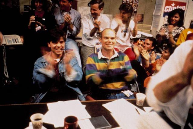 George Stephanopoulos and James Carville in 'The War Room' (Photo: Everett) <br>