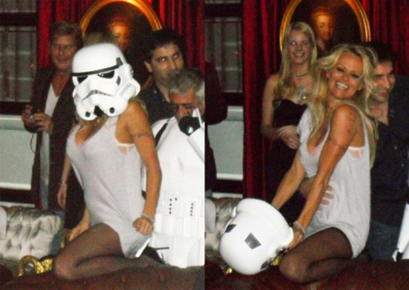 <p>Former <em>Baywatch</em> babe Anderson revealed that she was the curvy Stormtrooper hiding under the helmet at a party in Buenos Aires, Argentina, where she was competing on a dancing competition show. (Photo: INF Photo) </p>