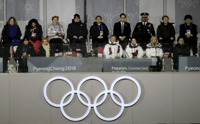 South Korean President Moon Jae-in, front row fourth from right, his wife, Kim Jung-sook, and Ivanka Trump, U.S. President Donald Trump's daughter, watch the closing ceremony of the 2018 Winter Olympics along with Kim Yong Chol, back row right, vice chairman of North Korea's ruling Workers' Party Central Committee, in Pyeongchang, South Korea, Sunday, Feb. 25, 2018. (AP Photo/Aaron Favila)