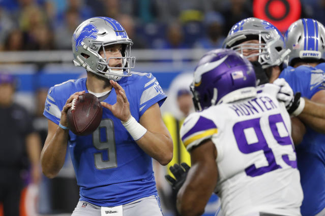 Lions quarterback Matthew Stafford is the fastest player to reach 40,000 career passing yards. (AP Photo/Rick Osentoski)