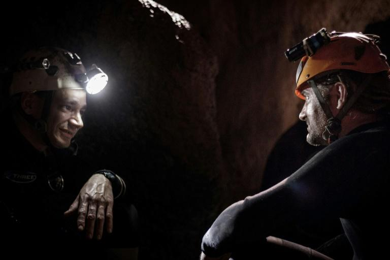 Cave divers Jim Warny (L) of Belgium and Mikko Paasi (R) of Finland took part in the rescue of the football team and now appear in the film of the gripping mission