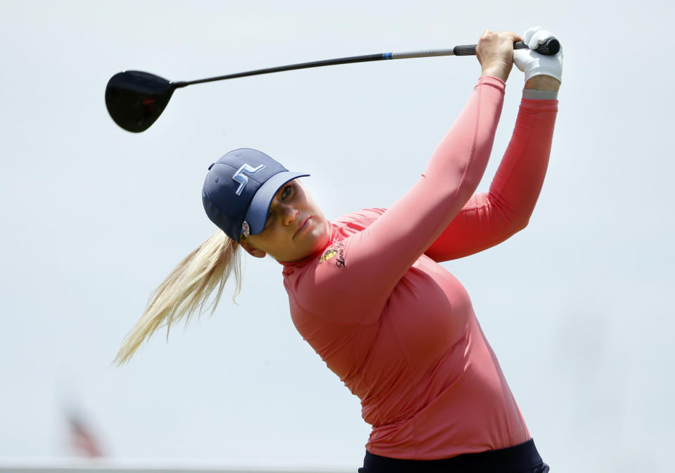 Matilda Castren, of Finland, plays her shot from the first tee during the final round of the LPGA Volunteers of America Classic golf tournament in The Colony, Texas, Sunday, July 4, 2021. (AP Photo/Ray Carlin)