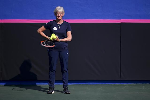 EILAT, ISRAEL - FEBRUARY 02: Captain Judy Murray watches on during a practice session ahead of the start of the Fed Cup at the Municipal Tennis Club on February 2, 2016 in Eilat, Israel. (Photo by Jordan Mansfield/Getty Images for LTA)