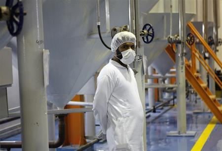 A technician is seen at the uranium conversion facility in Isfahan