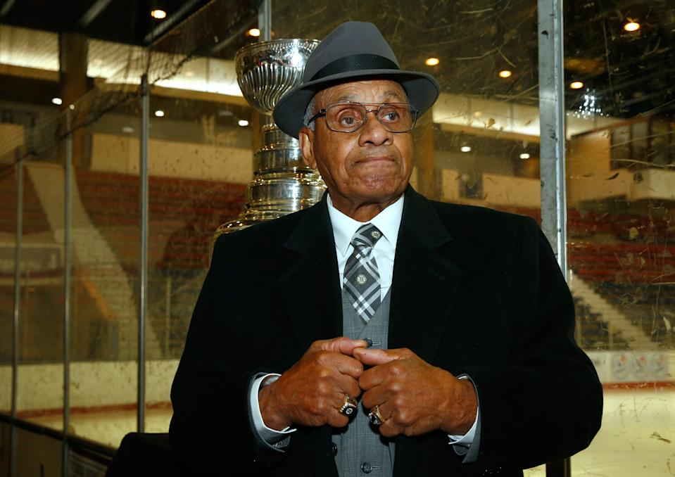 NHL Diversity Ambassador Willie O'Ree speaks to guests and attendees at the Willie O'Ree Skills Weekend