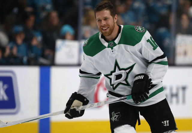 Dallas Stars center Joe Pavelski warms up for the team's NHL hockey game against the San Jose Sharks in San Jose, Calif., Saturday, Jan. 11, 2020. (AP Photo/Josie Lepe)