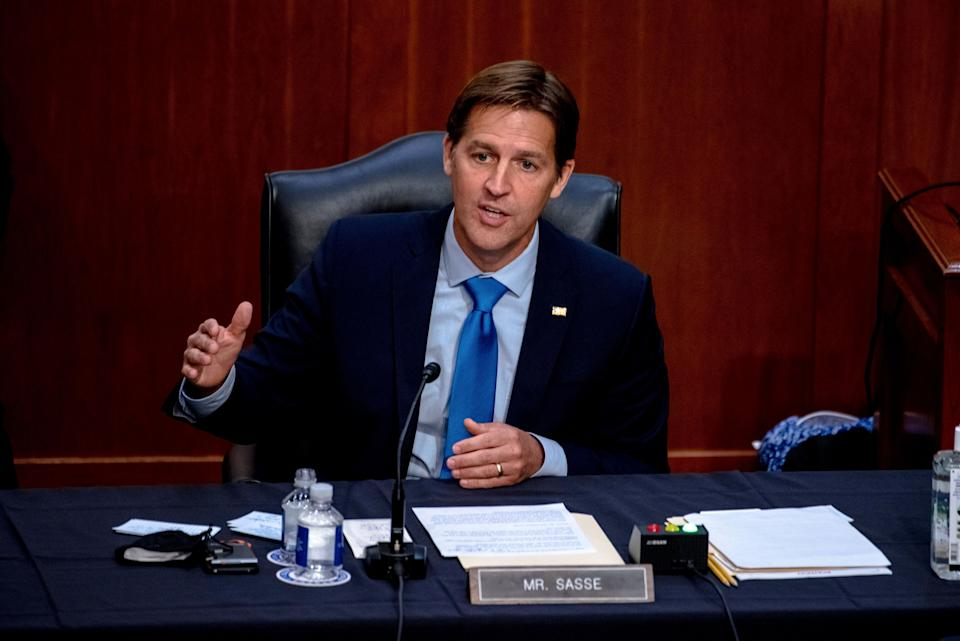 "Sen. Ben Sasse (R-Neb) speaks during the confirmation hearing for Supreme Court nominee Amy Coney Barrett. Sasse has been criticizing President Donald Trump recently, and told his constituents in a telephone town hall meeting that the president has ""flirted with white supremacists"" and ""kisses dictators' butts.""  (Photo: Hilary Swift/The New York Times via AP, Pool, File)"