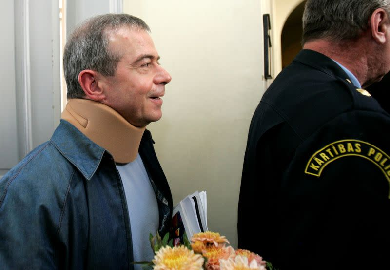 FILE PHOTO: Aivars Lembergs, Mayor of western Latvia's port city Ventspils, leaves Riga Regional Court after a hearing