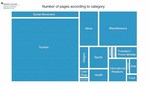 PHOTO: Graphic showing the various focuses of the pages. The larger the box, the more pages covered that category. (@DFRLab)